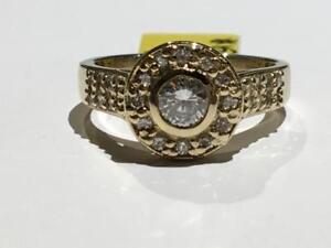 #1530 WOW! 14K STUNNING LADIES BEZEL SET DIAMOND ENGAGEMENT *SIZE 7* .72CT TOTAL. JUST BACK FROM APPRAISAL AT $4850.00!!