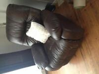 Dark brown couch and matching chair