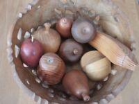 Carved wooden fruit