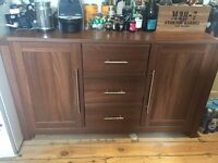 Modern Walnut Effect Sideboard AND Bookcase - perfect for dining or living room £110
