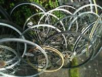 Job lot bike wheels and tyres.