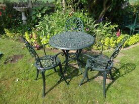 CAST ALUMINIUM GARDEN / PATIO SET - TABLE AND 3 CHAIRS -