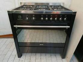 Smeg Dual Fuel Range Cooker with FSD in Gloss Black 90CM
