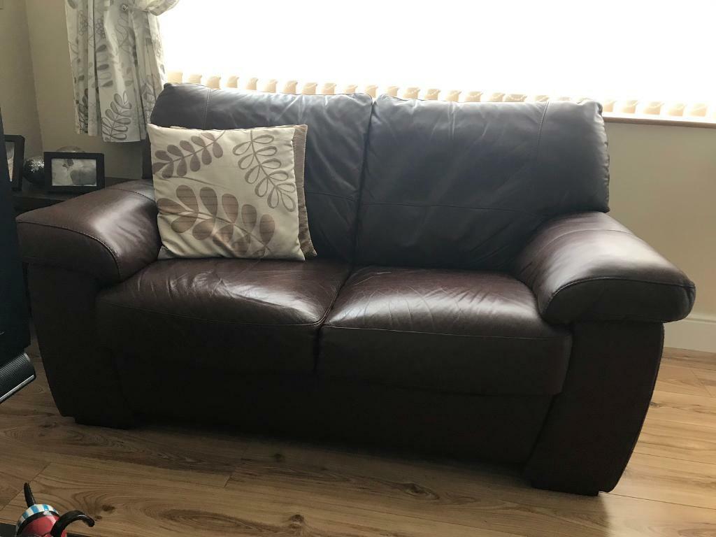 2seater chocolate brown leather sofa' | in Kingswood, Bristol | Gumtree