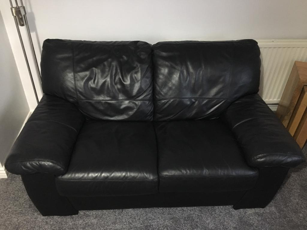2 Seater Black Leather Sofa In Denny Falkirk Gumtree