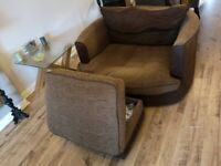 Going to charity shop next week as must go - Furniture Village Swivel Chair and foot stool