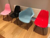 3 multi-color fiberglass chairs (eames style)