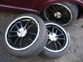 SPORT BLACK AND CHROME WHEELS X 4, 195X45X16 AS NEW TYRES, VW, VAUXHALL, RENAULT ETC.
