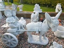 Concrete Donkey Cart Garden Ornament