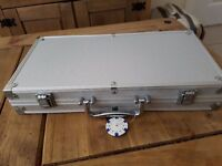 poker set, chips, dice, cards and metal case
