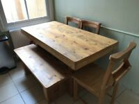 Oak dining table, 4 chairs & bench