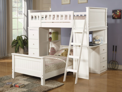 White Timber Bunk Beds with Desk and Drawers