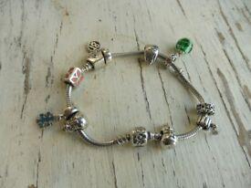 Genuine Pandora bracelet with barrel clasp 10 authentic charms (vintage set)