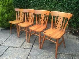 Solid PINE dining chairs x4 FIDDLE BACK vintage SHABBY CHIC