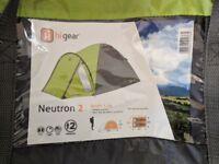 Hi Gear Neutron 2 man tent with porch clean dry excellent condition