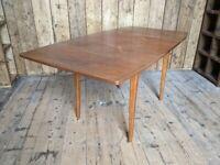 'Small' extending 1960s Danish style tapered rectangular teak dining table or DESK? vintage gplanera