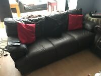 Chocolate leather 3 seater deep cushioned sofa