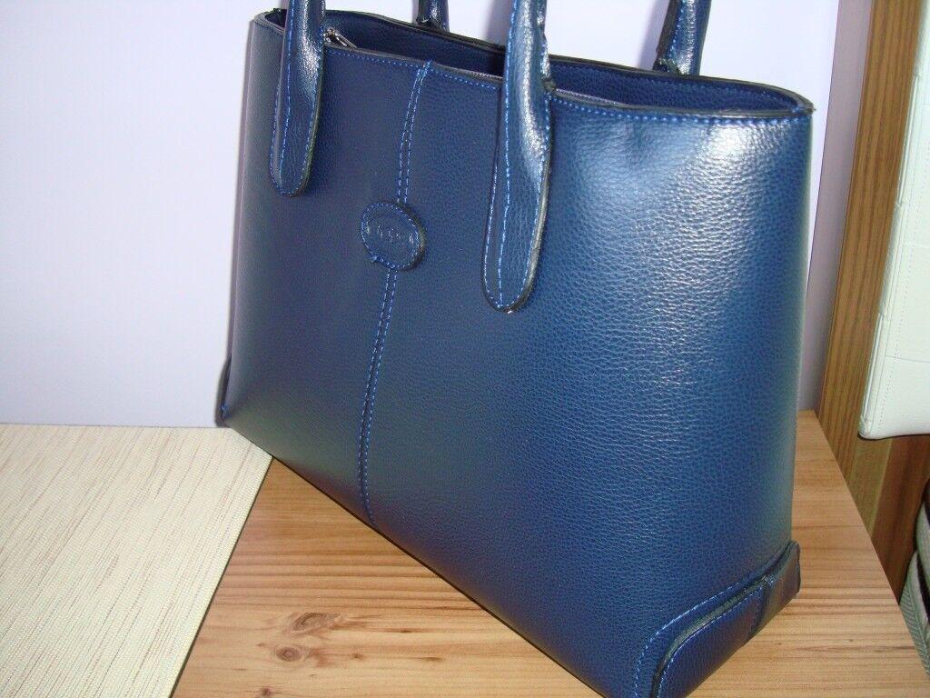 5d74c9832f0 TOD S Womens Large Real Italian Leather Shopper Bag Tote Tablet Handbag - Navy  Blue Colour