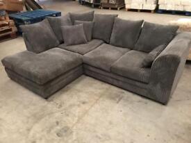 New grey chorded corner sofa