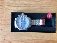 Angelshark Led Watches Men's Alarm Watches Silver Stainless Steel DS016S