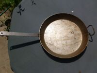Very Large Steel Frying Pan with Handle - ideal for large groups, outdoor cooking etc!