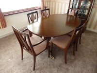Mahogany G Plan 6 seat Extendable Dining Room Table & Chairs FOR SALE