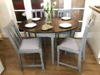Vintage oak table and 4 chairs free delivery Ldn shabby chic gate leg table