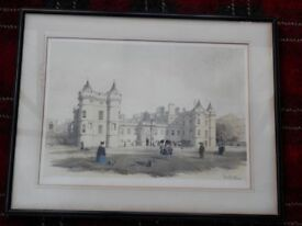 Swarbreck coloured print of Holyrood Palace and chapel