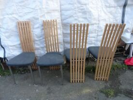 4 x vintage EFFEZOTA modern look dining chairs. seat covers worn.