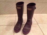 HUNTER WELLIES SIZE 3 PURPLE IN GOOD CONDITION WELLINGTON BOOTS GIRLS/WOMANS