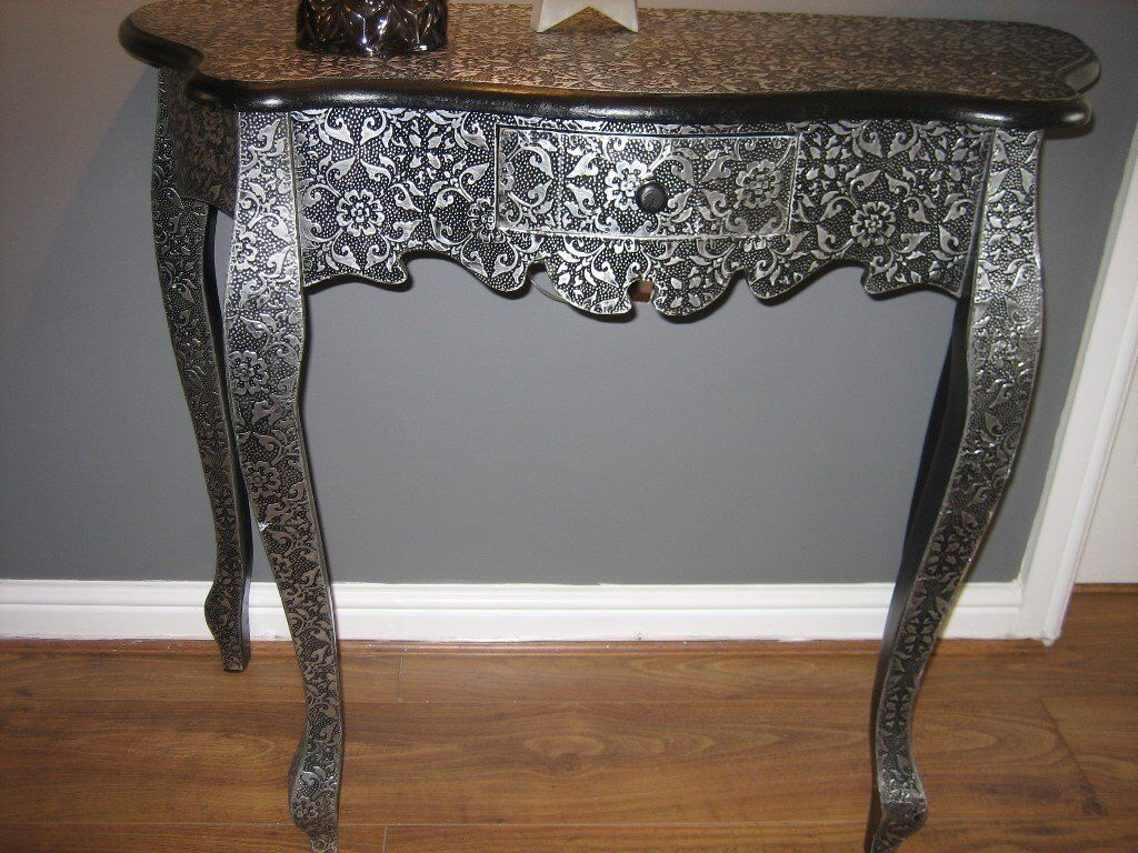 Console Table Antique Style Embossed In Black And Silver With One Small Drawer Brackla Bridgend Gumtree