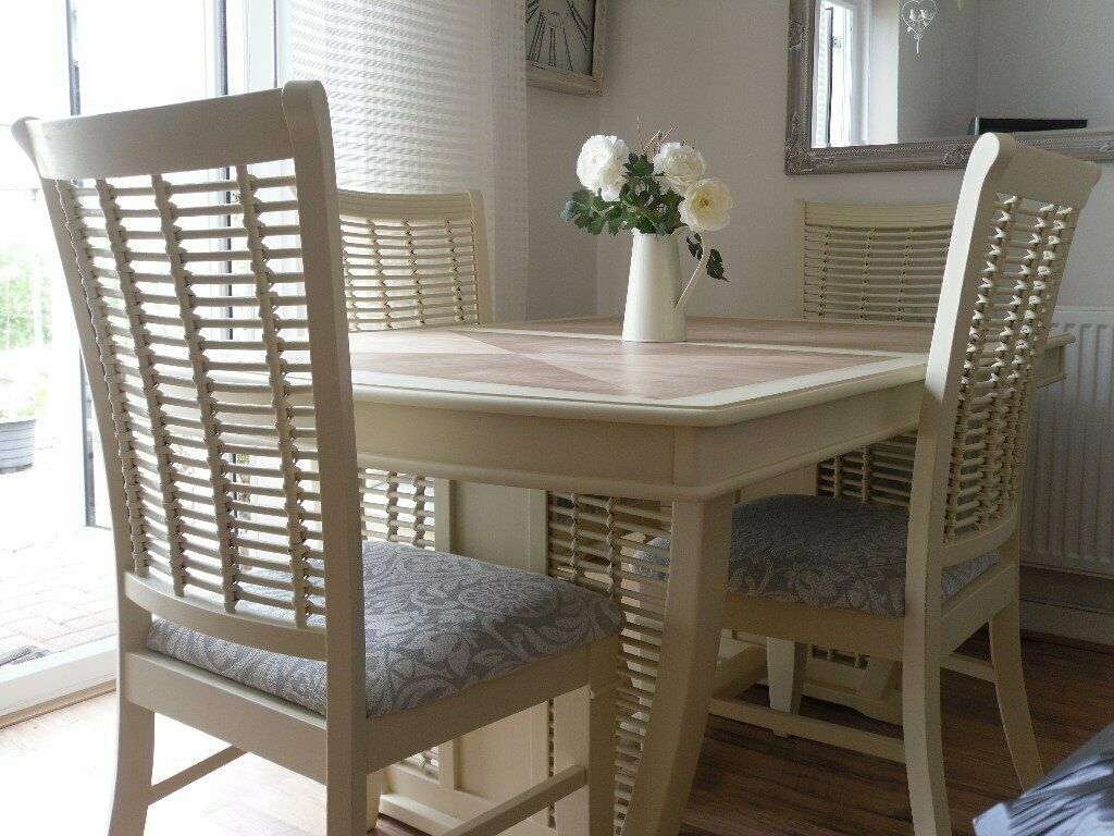 Stunning Dining Table With 4 High Back Chairs Lovingly Restored In Shabby Chic Style In Whitchurch Cardiff Gumtree