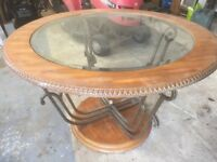 mini sideboard and round glass top dinning table for sale.