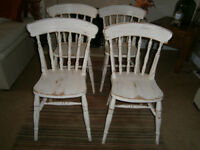 KITCHEN CHAIRS SHABBY CHIC PINE, SET OF 4, GOOD CONDITION!