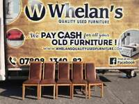 5 brown leather and oak wood dining room chairs £55