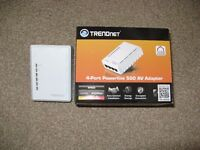 TRENDNET 4-port powerline AV500 adaptor, TPL-4052E, boxed, working