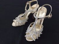 High Heels/ Dance shoes Hot Soles silver diamante size 3