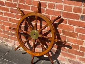 Large Wooden Ships Wheel with Brass Centre