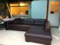 Large Brown Leather Corner Sofa With Adjustable Headrests. Very Good Condition