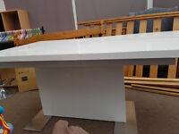 Modern White High Gloss Extending Dining Table Seats Upto 10