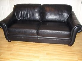 Genuine Heavy Gauge Leather Black Sofa 3-4 Seater Collect Faversham ME13 7NL