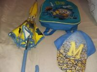 Minion backpack, umbrella & cap in good condition