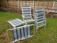 2 x Outwell reclining garden chairs with matching footrests