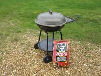 Large kettle BBQ with charcoal