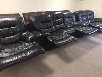 3-2-1 Black Leather Recliner Suite