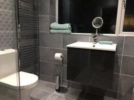 New - Wall hanging two drawer bathroom vanity unit & cupboard