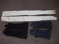 3 Pairs Vintage Leather Gloves. Good Condition.