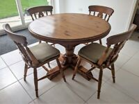 VINTAGE JAYCEE SOLID PINE EXTENDABLE PEDESTAL DINING TABLE 4 CHAIRS & CUSHIONS
