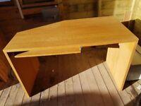 oak veneer desk with removable slide out keyboard shelf ex John Lewis
