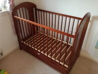 Walnut baby cot and toddler bed 3 in 1, with a drawer and a mattress